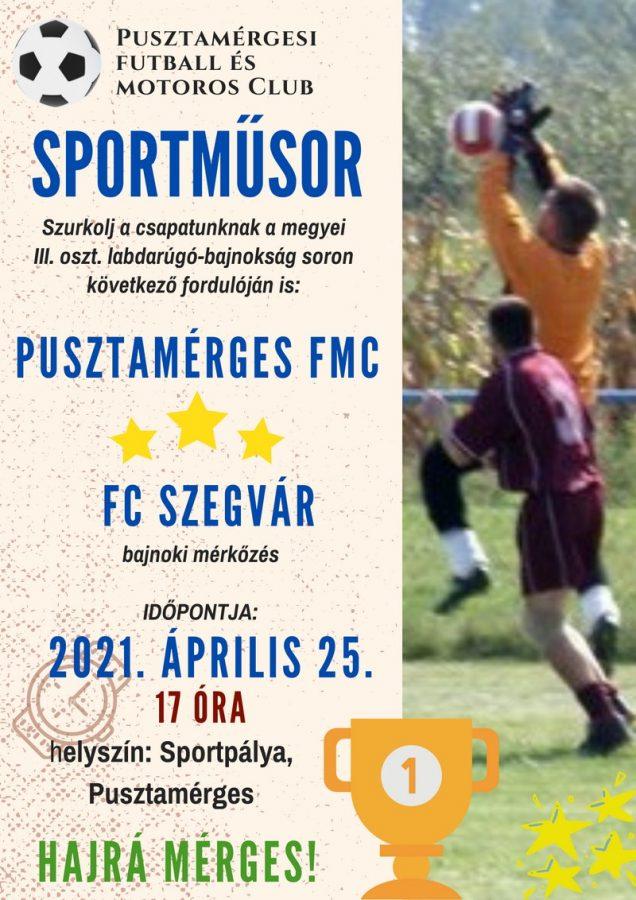 Pusztamérges FMC - FC Szegvár @ Sportpálya